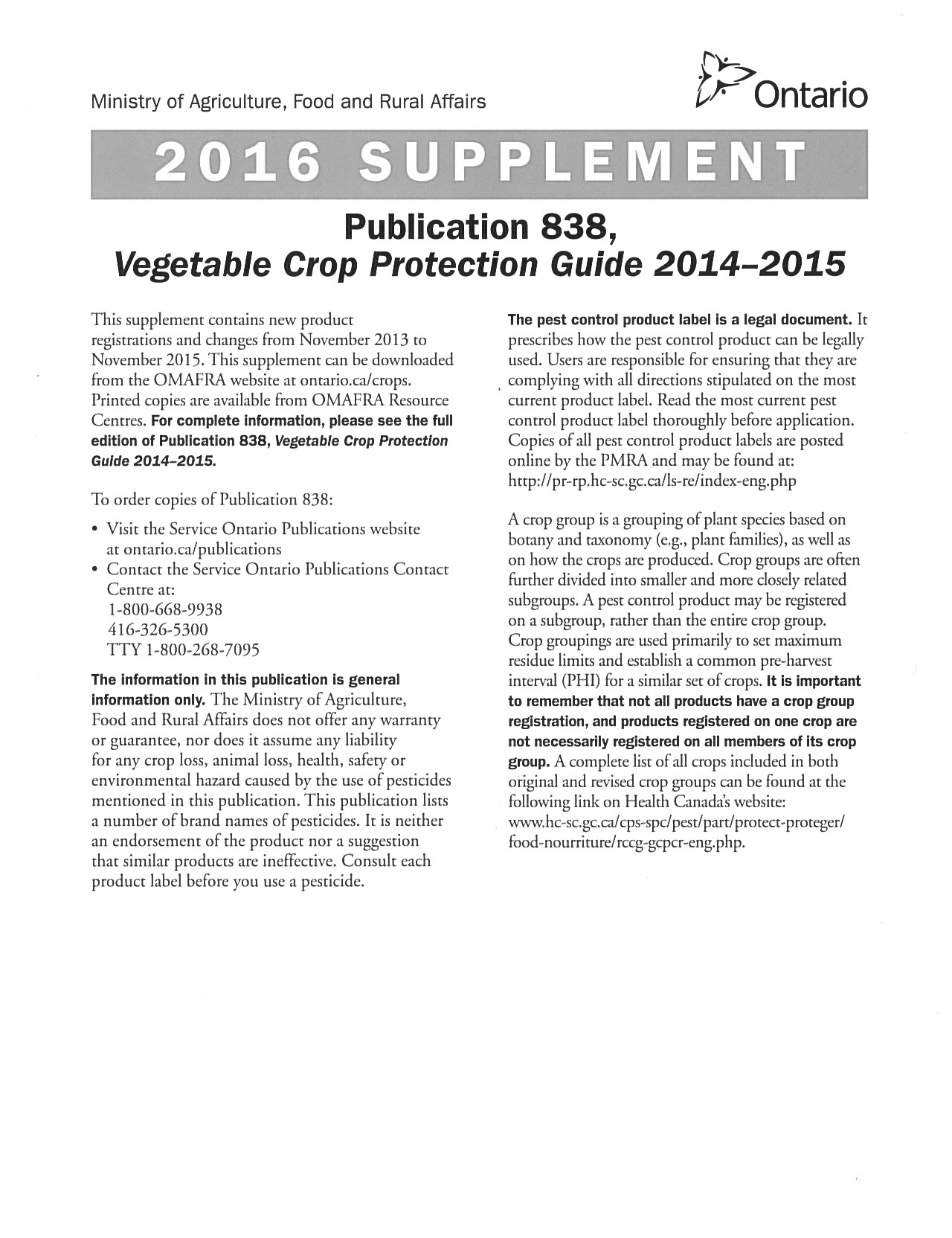 2016 Supplement - OMAFRA Vegetable Crop Protection Guide (Pub. 838)