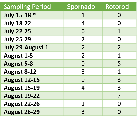 Sept.4.2019 LB Spore Trap results table